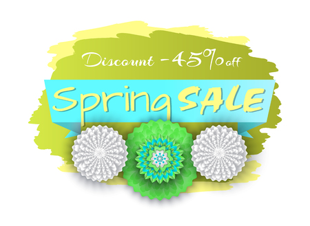 Spring sale discount 45 percent lower price banner vector. Isolated icon of origami flowers in bloom, blossom and special propositions of markets offer