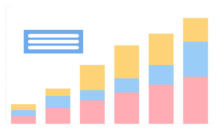 Information in visual representation vector, statistic and results of business project. Striped with colored segments, table with text above flat style Illustration