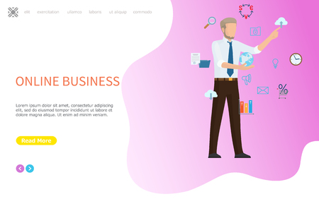 Online business web poster, man arranging icons. Globe in hands, cloud storage and message mail, clock and files folder, percentage sign and lock vector. Website or webpage template landing page flat Ilustração