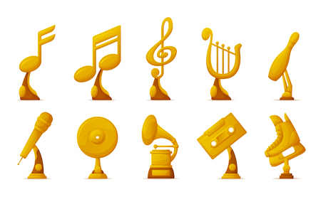 Music and sport awards vector, isolated icons of cassette and notes set. Microphone and harp instrument, musical contest and skiing boot gold prize Illustration