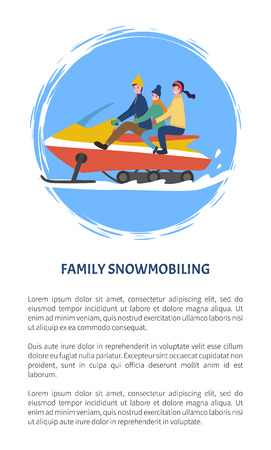 Family snowmobiling people having fun outdoors poster with text sample vector. Mother and father, kid sitting between parents, mum with child winter