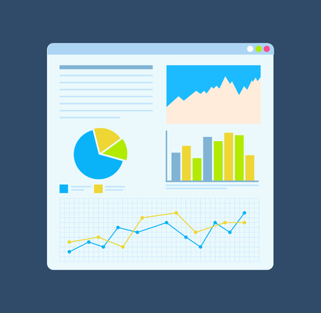Diagrams on board, growth statistics on table. Monitor with graphs and chart. Slide of working progress vector analytical financial analysis and statements