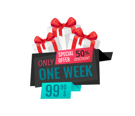 Only one week, price reduction , shop clearance label vector. Best offer of shop, saving money. Present  box with ribbon and bow, goods promotion gift