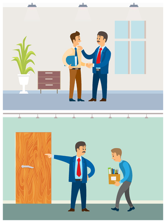 Boss with discharged worker, businessman at office vector. Dismissal of employee, walking with boxes to exit. Director praising colleague with files