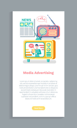 Media advertising, newspaper information, tv and radio promotion. Screen of website with electronic devices and magazine, online news and reports vector Stock Illustratie