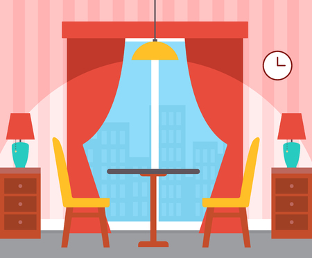Interior of room, table with chairs, nightstand with lamps, panoramic window with curtains, wallpaper in stripes, hanging clock and illuminator vector Ilustração