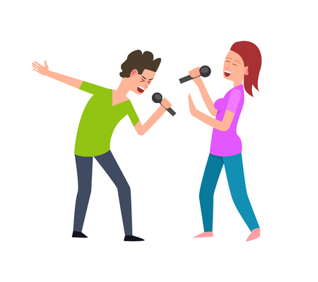 Musical performance, singers man and woman singing vector. Isolated people performing concert, music entertainment, male and female with microphone  イラスト・ベクター素材