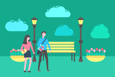 People walking in park vector, benches and lanterns, flower bed with plants, outdoors activities. Street with place to sit, couple man and woman strolling Archivio Fotografico - 125182349