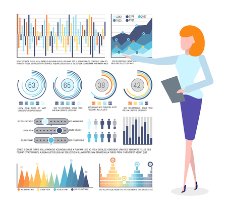 Statistical data and infographics, business graphics vector. Chart and diagram, flowchart and population statistics, businesswoman holding notepad Illustration