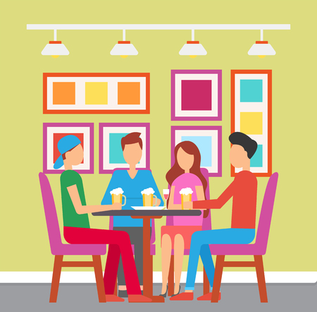 Friends gathered in bar drinking beer pint vector. Man and woman having fun at pub with colorful interior. design of place to eat and have beverage Stock Illustratie