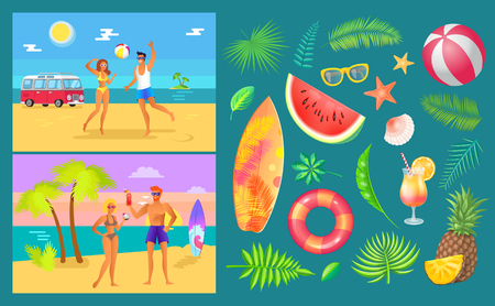 Summer party by beach set vector. People playing volleyball and drinking cocktails. Lifebuoy and watermelon, surfboard and sunglasses, inflatable ball Illustration