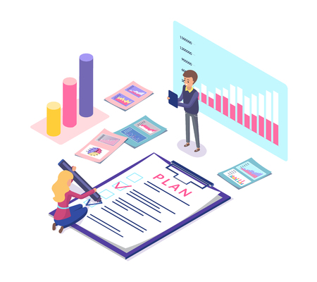 Analytics and statistics of business plan vector. Tasks and fulfillment, info charts and infographics, teamwork and schemes showing results of project
