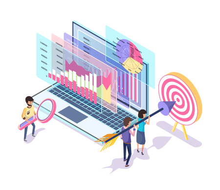 People working on website promotion vector. Digital marketing implemented by workers, target and workers aiming in bullseye, searching of data info Illustration