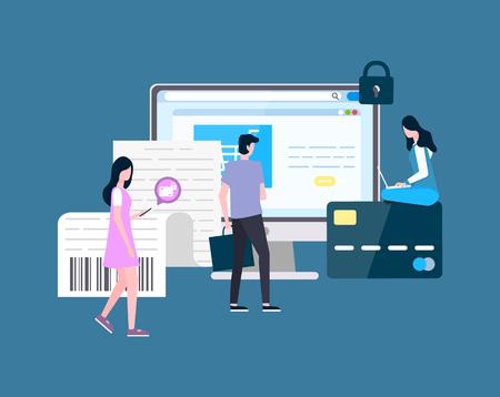 Les gens achètent un homme en ligne en regardant le vecteur d'écran d'ordinateur portable. Femelle avec chariot, icône de chariot sur téléphone mobile, moniteur de site Web informatique avec informations