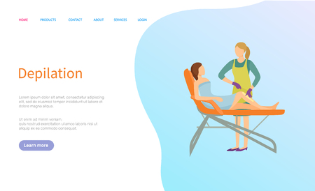 Depilation service vector, beauty procedure online order. Woman in towel on medical table and female salon master in apron, legs waxing or epilation. Website or webpage template landing page in flat