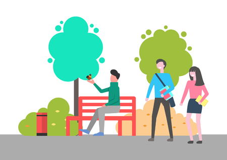 Man sitting on bench vector, male holding bird on hand spending time in park. Outdoors activities, natural environment with trees and leafy plants Foto de archivo - 125182359