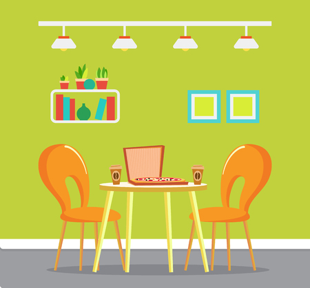 Pizza house with served food vector. Interior of pizzeria, picture in frame, shelf with books and printed materials. Coffee beverage in plastic cups