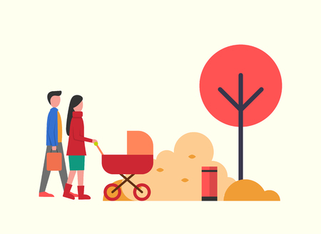 People in autumn park, family walking around trees nature vector. Father and mother, parents of kid in perambulator. Stroller for child, fall season