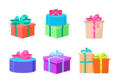 Presents vector, gifts decorated with ribbons and bows, wrapped in special paper. Celebration of holiday, isolated icons set of packages boxes to give