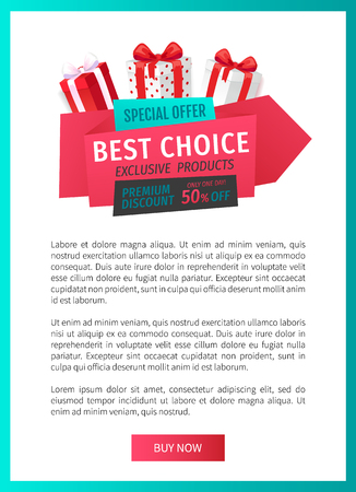 Special offer, best choice 50 percent off reduced price web page template vector. Box with bow, gift exclusive product, only one day sale of shops Ilustração