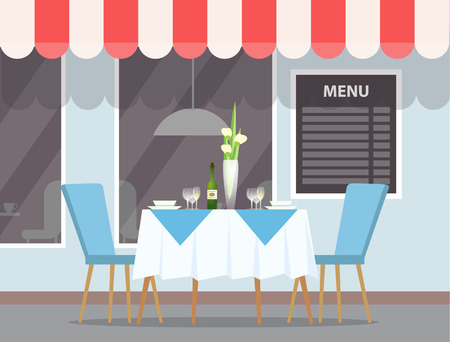 Street view of restaurant vector. Canopy on roof of cafe, exterior of eatery, table with flower vase and elegant furniture, tablecloth and chairs decor