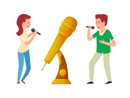 Vecteur de trophée de musique, microphone de récompense d'or et chanteurs. Candidat au divertissement d'une femme et d'un homme chantant avec des miles. Récompense du meilleur concours de chanson Vecteurs