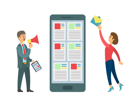 Smartphone and people sending message vector, boss and worker interacting. Mobile phone device, person with letter envelope, boss with megaphone task