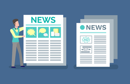 Printed publication with announcements and news vector. Man reading advertising and ads in newspaper, article with headline, paper with info  columns Çizim