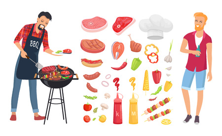 BBQ barbecue veggies and meat icons vector. Man roasting beef, pork and brochettes. Sauces ketchup and mustard, salmon and sausages, vegetables set 向量圖像