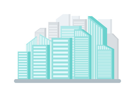 City with tall buildings and skyscrapers vector. Isolated icon of town, urban district exterior and facade of constructions. Residences of megapolis
