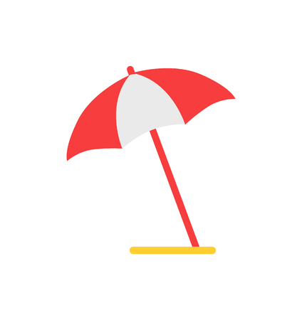 Beach umbrella emblem cartoon isolated vector icon. Red and white open canopy, installed at angle, protection from sunshine, single simple element