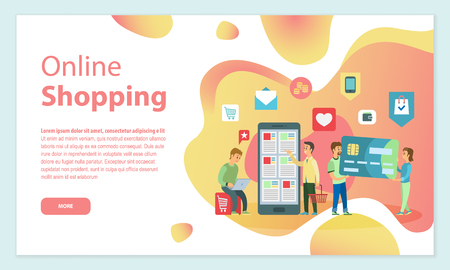 Clients with smartphones and laptops vector. People buying things online with internet, man and woman with credit card, payment and economy ecommerce