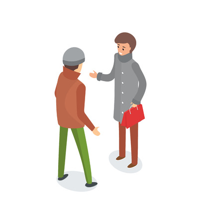 Male friends talking outside, wearing warm clothes vector. Person in long coat with stylish sack in hands, people outdoors in winter season discussion Ilustracja