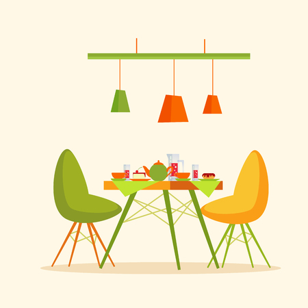 Restaurant table with cakes and desserts dinner vector. Desk with donut and kettle, teapot with water and glasses, mugs with sweet food cafe interior