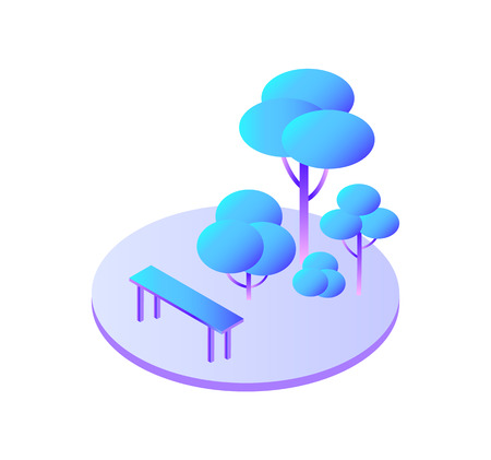Trees forest with bushes and bench to sit isolated icon vector. Green zone of modern city, vegetation ecological spot of town. Foliage and leaves