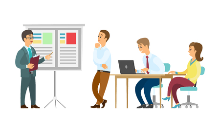 Boss giving presentation on whiteboard vector, business plan conference. Presenter with information, seminar and sitting listeners with laptops, meeting Foto de archivo - 125182411