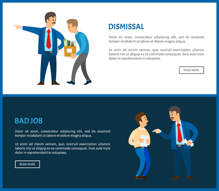 Dismissal of worker for bad job vector posters. Boss in suit dismissing employee with box full of personal things. Executive manager and bad executor