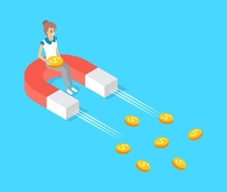Moving magnet vector, attracting gold money, dollar cash. Woman sitting on attractor colored in red and white. Finance ideas of increasing profits Ilustração