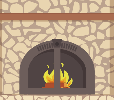 Modern stacked stone fireplace with traditional decoration and metal frame material, vector closeup. Natural, rustic mantelpiece with burning logs in fire