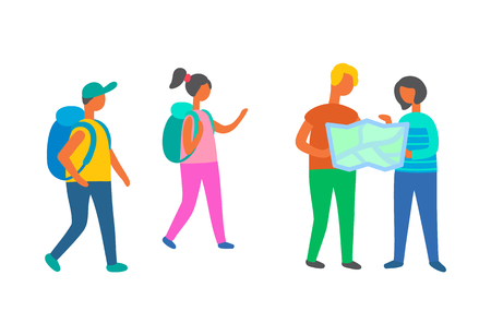 Travelers group walking with map vector, people with bags on vacation, backpackers on adventures. Man and woman with atlas, couple family with children