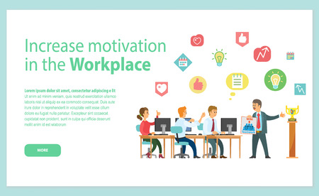 Increase motivation in workplace web page, men and woman sitting at table with computers, discussing successful strategy,teamwork and win, award vector