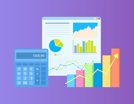 Diagrams on board, growth statistics on table and rising up arrow on colorful diagram, blue calculator. Calculations and financial analysis on chart vector