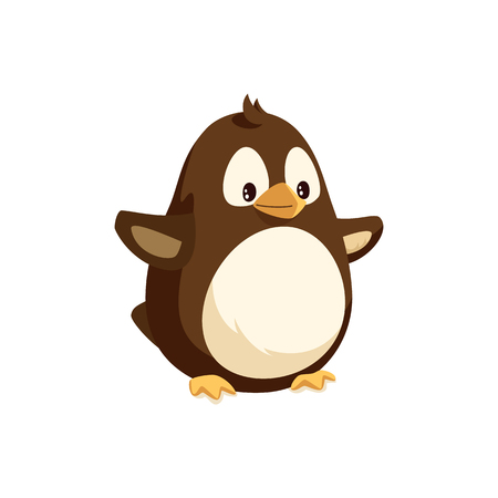 Penguin animal with side view vector. Winter seabird with wings and beak, standing with arms raised. Isolated bird from antarctic area, marine creature Illustration