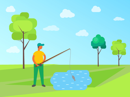 Male fishing in lake, vector fisher catching fish on green lawn, trees and blue sky on backdrop. Male in cap with fishery rod, summer hobby sport activity