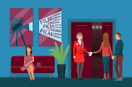 Movies theater interior, cinema hall worker and viewers vector. Woman with ticket on couch check-taker, video camera picture on wall, plant and entrance