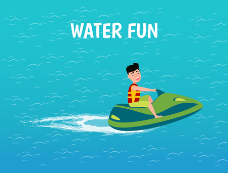 Water fun transport and male riding jet ski vector. Person having driving motor transportation on sea surface. Teenager with smile on face relaxing