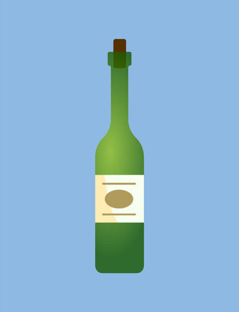 Wine alcoholic beverage, drink poured in liquid vector. Bottle made of glass with emblem, brewed traditional refreshment winery product, closeup of product Illustration