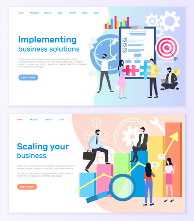 Implementing business solutions and scaling startup success vector. Notepad and target, graphic of financial growth, businessmen and businesswomen. Website or webpage template landing page in flat Çizim