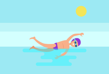 Freestyle sport activity, professional man swimmer in goggles and hat. Smiling expert swimming in sea water, shining sun above athletic male vector