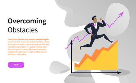 Overcoming obstacles vector, businessman running up chart. Website with man on infographic, successful entrepreneur, increasing scale growing high
